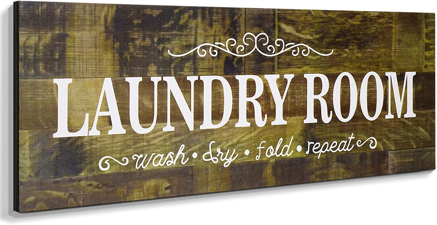 Laundry Room Decor Sign Wooden Rustic Farmhouse Family Laundry Room Wall Sign Wash Dry Fold Repeat Wall Decor Prints for Home Laundry Room (16 x 6 Inches)