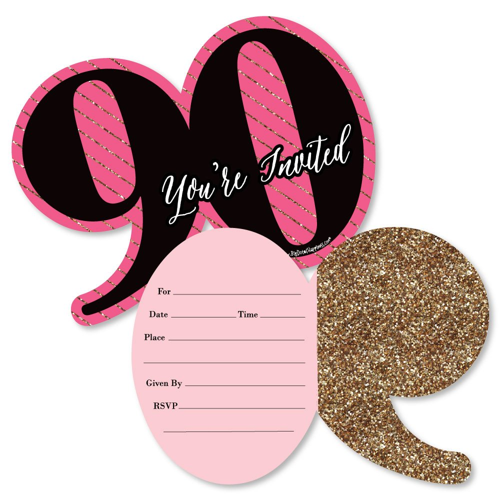 Big Dot of Happiness Chic 90th Birthday Pink Black and Gold Shaped Fill In Invitations Birthday Party Invitation Cards with Envelopes Set of 12