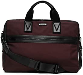 MICHAEL Michael Kors Mens Parker Large Nylon Briefcase Shoulder Bag, Oxblood / Black