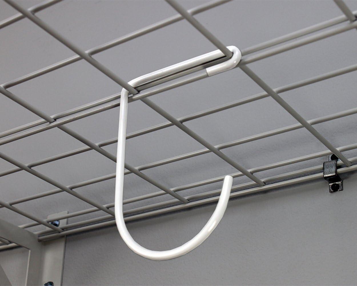 SafeRacks Garage Wall Shelf Two-Pack 18x36 18x36, White Includes Bike Hooks 500lb Capacity