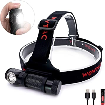 Wowtac A2S LED Headlamp LED Headlight 5 Modes Max 1050 Lumen USB Rechargeable 18
