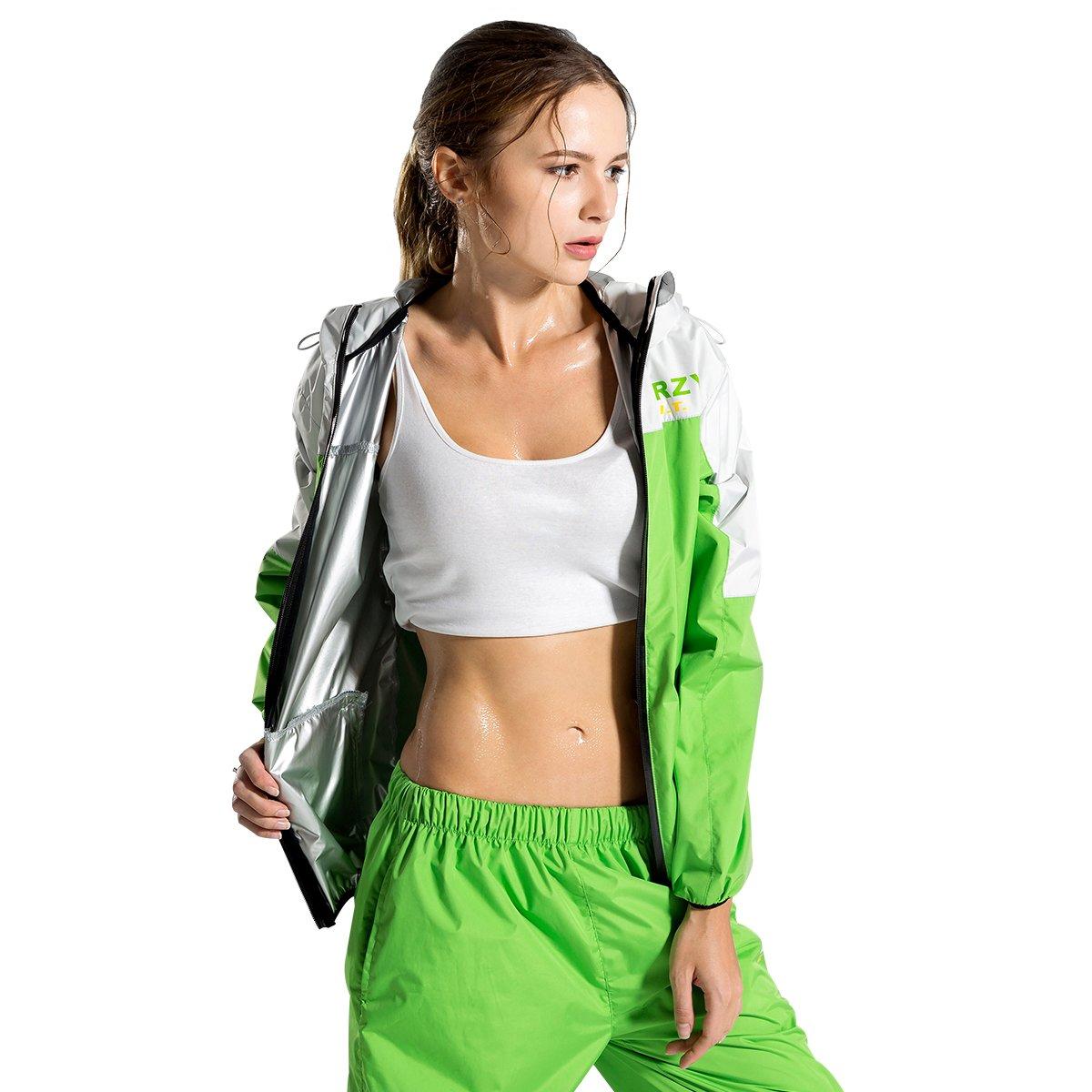 女性用スポーツSuits Runningスリミングサウナスーツfor Lose重量Fat Burner汗トレーニングウェアフィットネス耐久性長袖フード付きジャケット XX-Large  B078TH6B2B