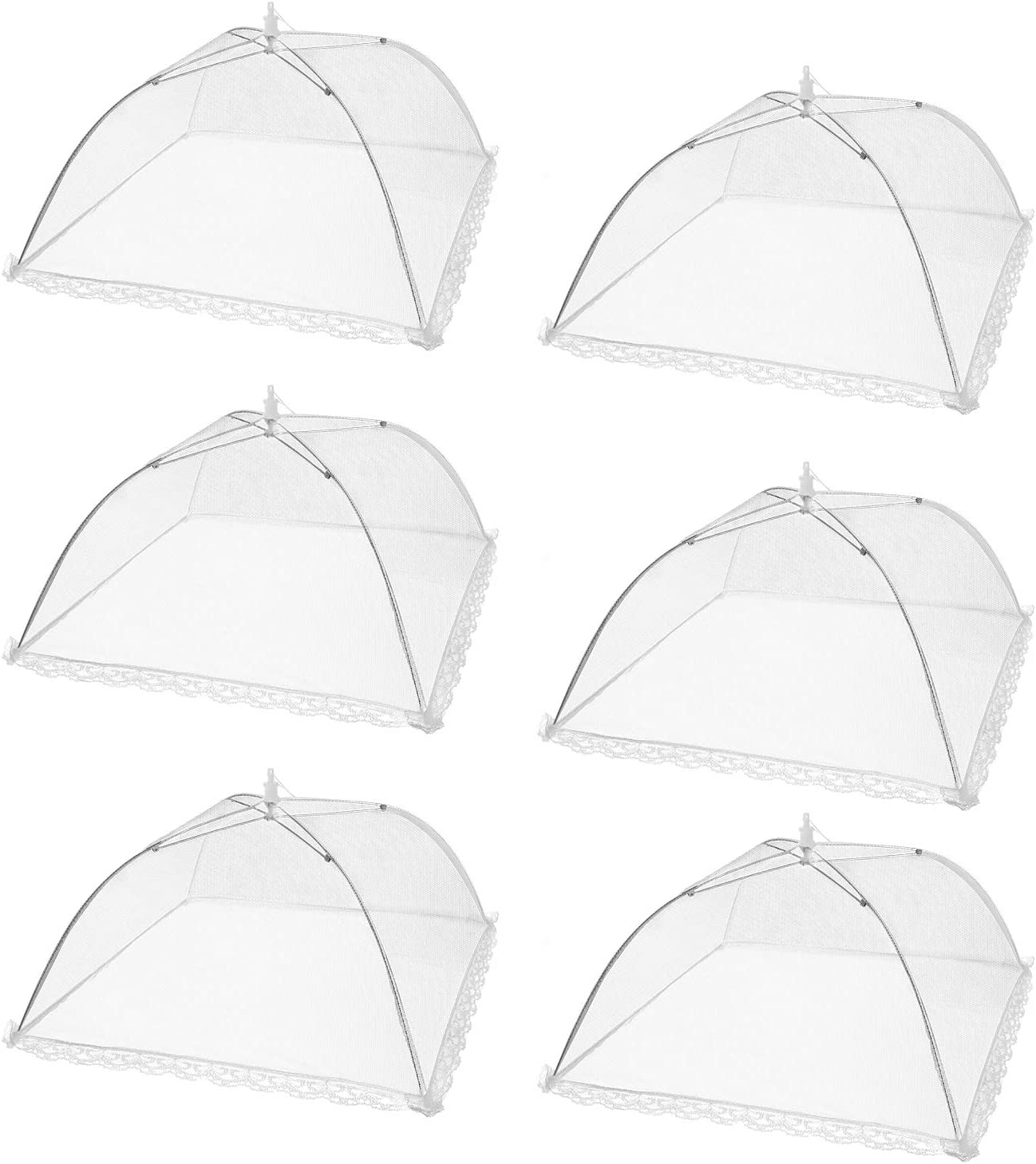 Armear 6 pack Large Pop-Up Mesh Food Cover Tent, 17 Inches Food Protector Covers Reusable and Collapsible Outdoor Picnic Food Covers Tent For Bugs, Parties Picnics, BBQs (White)