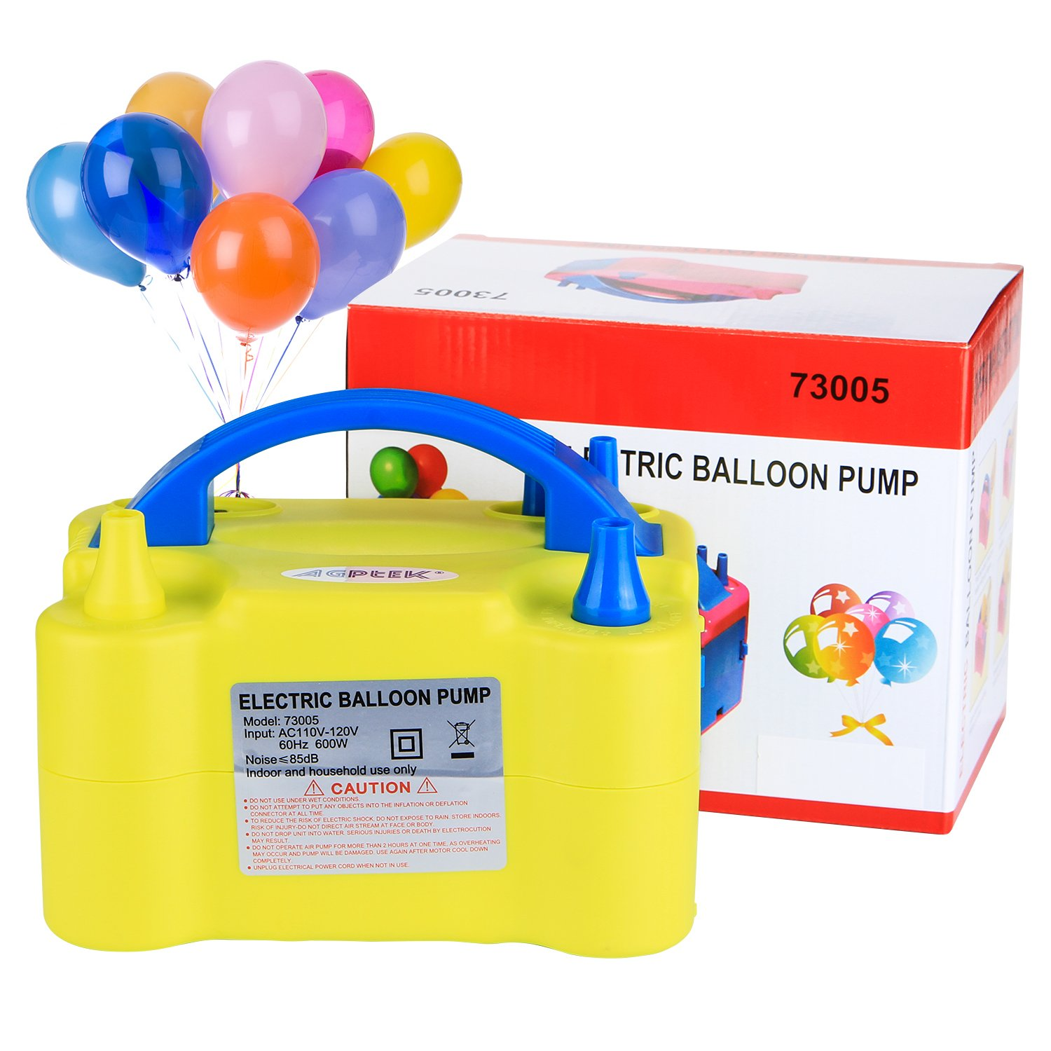 Electric Air Balloon Pump, AGPtEK Portable Dual Nozzle Inflator/Blower for Party Decoration - Yellow