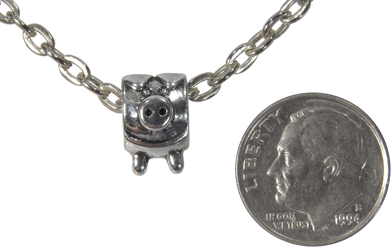 Unisex Pig Silver Colored Pendant Charm ViciBeads Pendant Free 20 Chain Bag