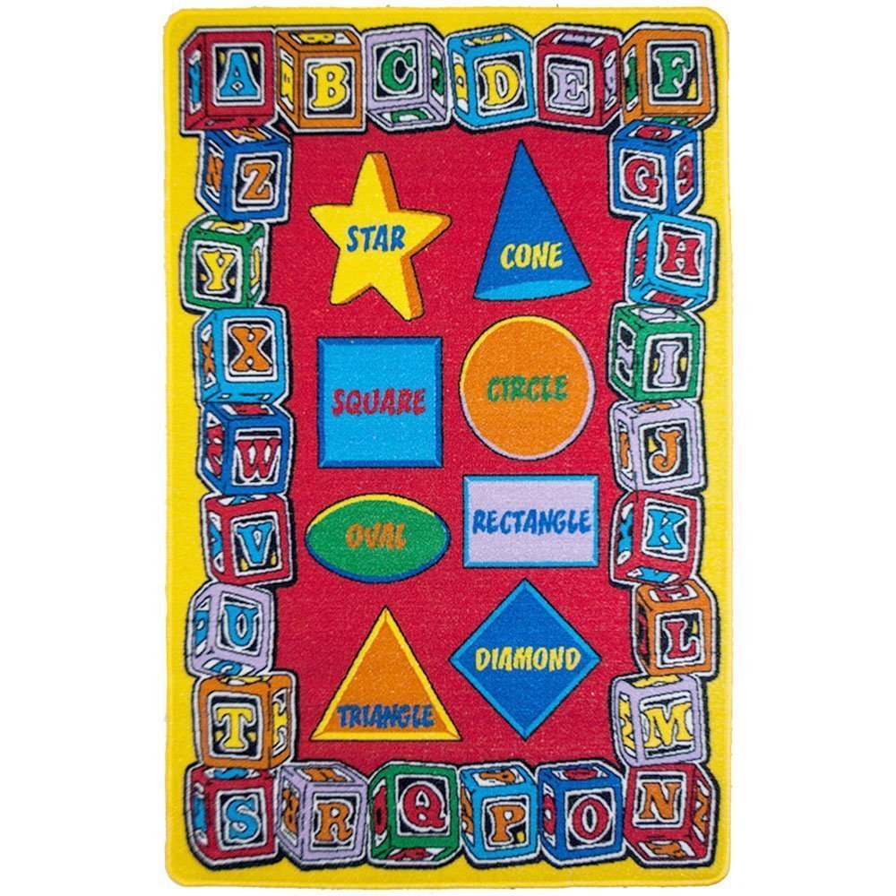 Kids Rugs Alphabet Shapes 8' x 11' ABC's Learning for Playroom and Nursery - size approximate ( 7'10'' X 11'3'') -size approximate: 7' feet 10'' inch by 11' ft 3'' in