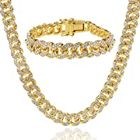 Cuban Link Chain for Men Iced Out Chains Gold Plated Diamond Chain Cuban Necklace Bracelet Set