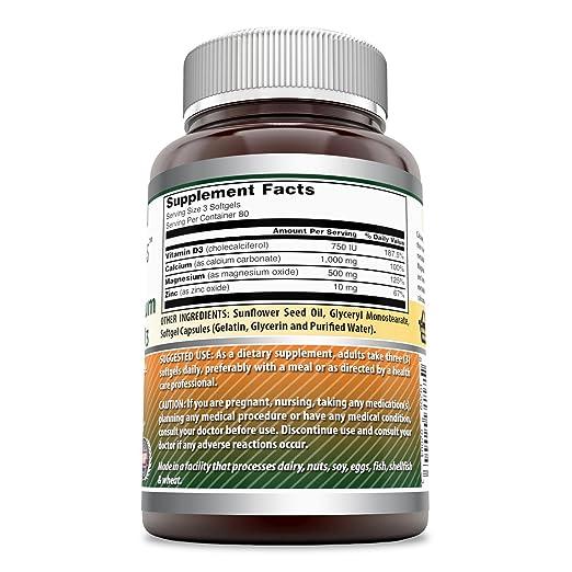 Amazon.com: Amazing Formulas Calcium Magnesium Zinc + Vitamin D3, 240 Softgels - Scientifically Formulated to Provide Health Benefits - Promotes Strong Bone ...