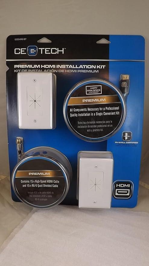 CE Tech Premium HDMI Kit de instalación (con Coaxial) – 15 pies. Cables