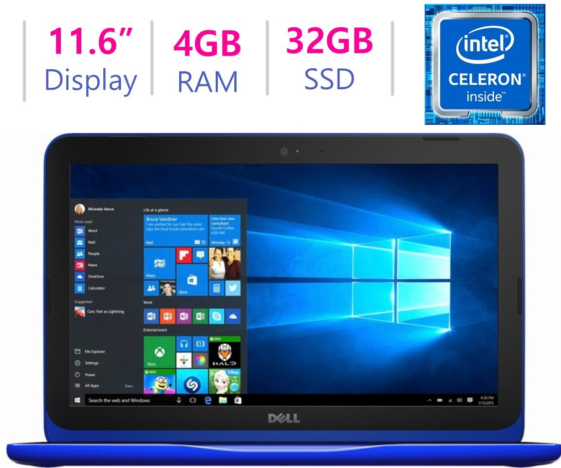Newest Dell Inspiron 11.6 inch HD (1366 x 768) WLED Backlit Display Laptop PC | Intel Celeron N3060 | 4GB DDR3L | 32GB eMMC | HDMI | Bluetooth | 802.11ac WIFI | Up to 9.5h Battery Life | Windows 10