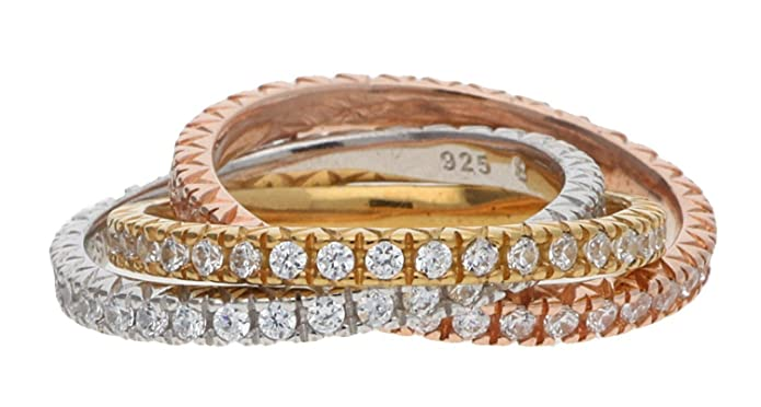 Esprit Damen Ring Silber Zirkonia Brilliance Triple ESRG91885A1