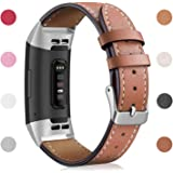 Hotodeal Leather Band Compatible with Fitbit Charge 3 Charge 3 SE, Classic Genuine Leather Bands Metal Connectors Women Men Small Large Size Silver, Rose Gold, Black