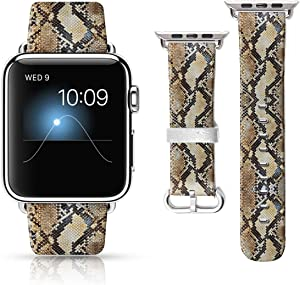 LAACO Leather Band Compatible with iWatch SE Series 6 38mm 40mm, Genuine Leather Fadeless Pattern Printed Vintage Replacement Strap Classic Bands Compatible with iWatch 6/5/4/3/2/1 Snake Pattern