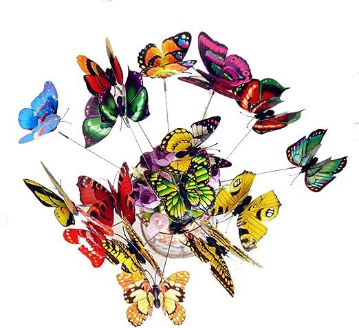 25 Piezas Mariposas Decoración de Jardín, Mariposa Artificial Para Jardines Patios Macetas y Decoraciones, Mariposa Simulado para Decoración de Planta, Color al Azar: Amazon.es: Jardín
