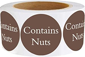 Contains Nuts Labels 1.5 Inch - Round Circle Dots 500 Adhesive Stickers (Brown)