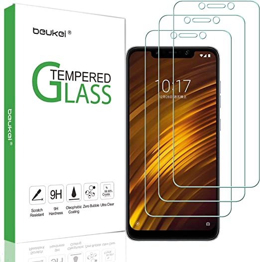 Amazon Com 3 Pack Beukei Compatible Xiaomi Pocophone F1 Screen Protector Tempered Glass Full Screen Coverage Touch Sensitive Case Friendly 9h Hardness