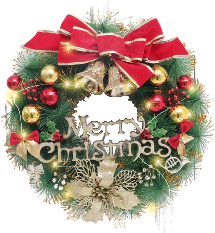 SGQCAR Artificial Christmas Wreath,Christmas Hanging Wreath ,Xmas Garland Wreath Ornaments with Lights,Christmas Ornament Garland for Indoor Outdoor House Wall Decor Pine Needle 40cm