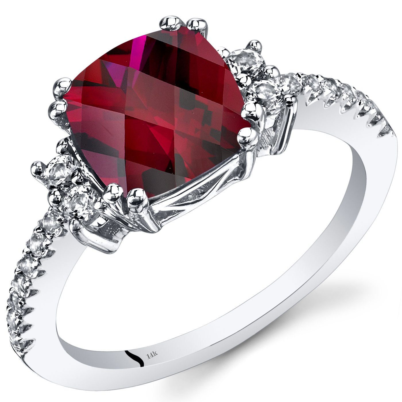 Peora 14K White Gold Created Ruby Ring Cushion Checkerboard Cut 3.00 Carats Sizes 5 to 9