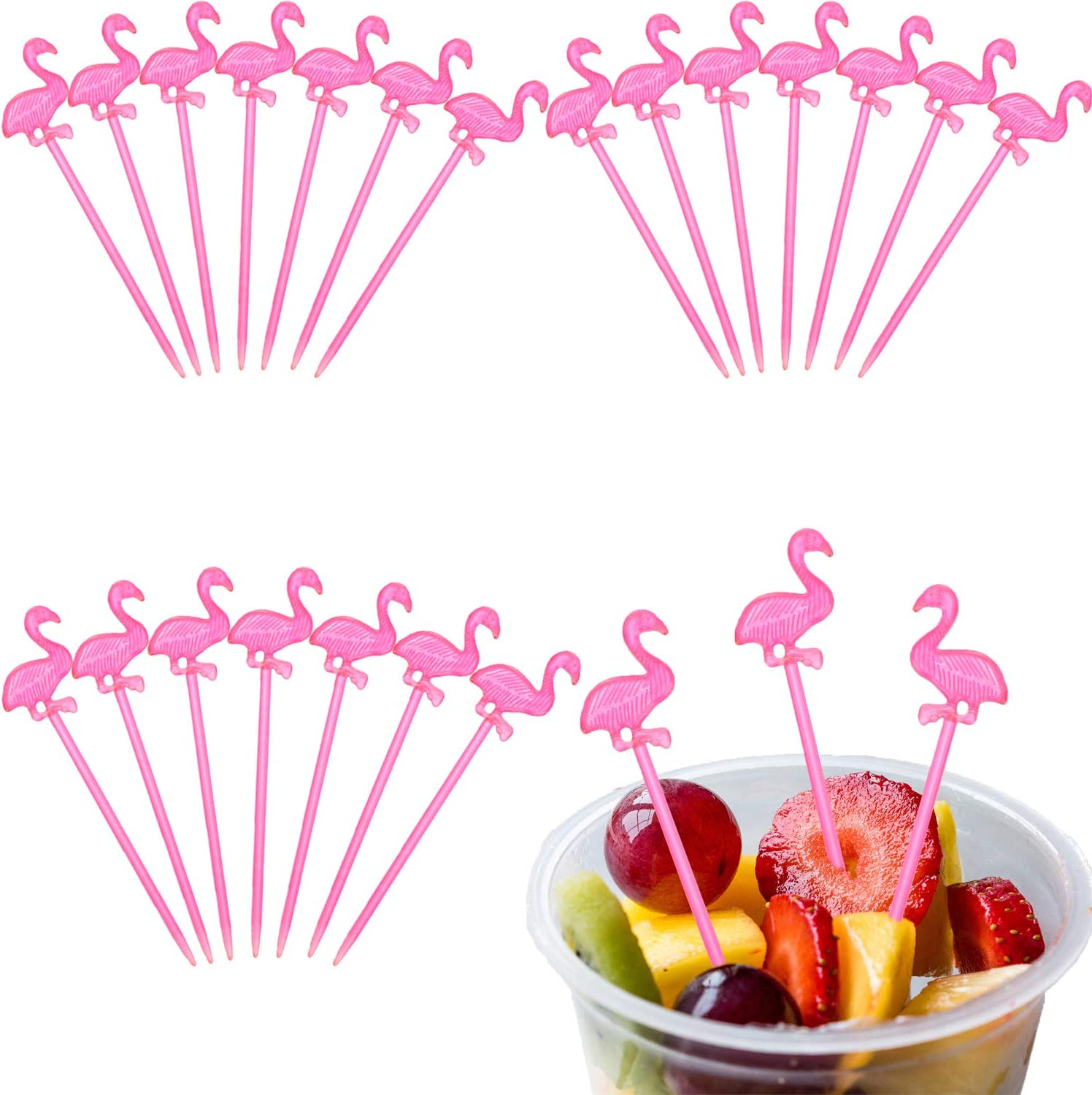 300 Pieces Plastic Picks Cocktail Picks Appetizer Picks Plastic Drink Picks for Tropical Party Decoration and Supplies (Flamingo Shape)