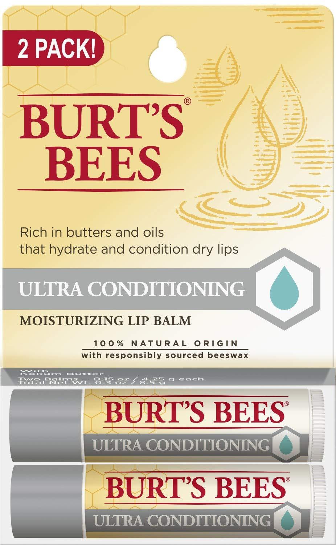 Burt's Bees 100% Natural Moisturizing Lip Balm, Ultra Conditioning with Kokum Butter, Shea Butter & Cocoa Butter - 2 Tubes