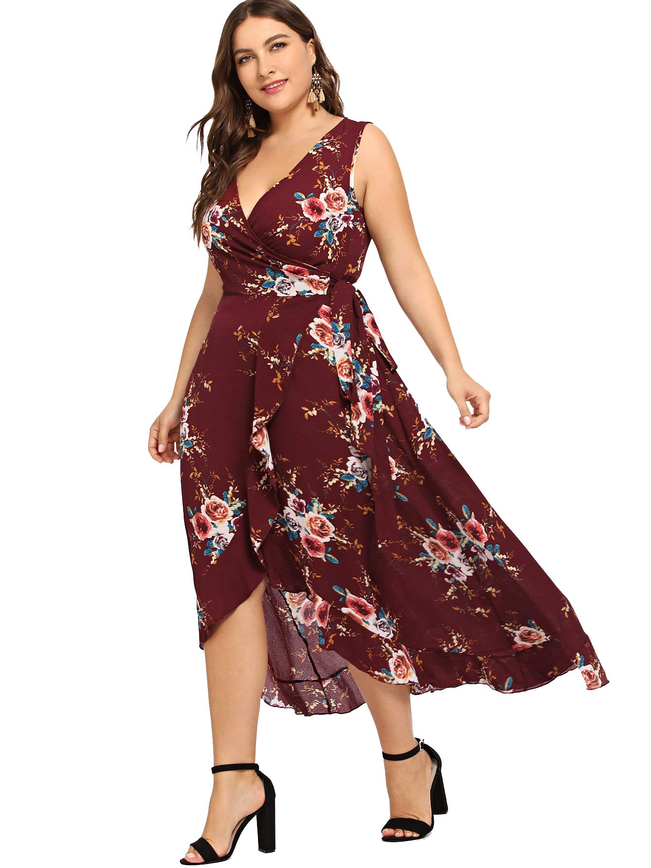 Milumia Plus Size Floral Sundress Fit Flare Wrap V Neck Empire Waist Party Cocktail Sleeveless Maxi Dress Red 1X