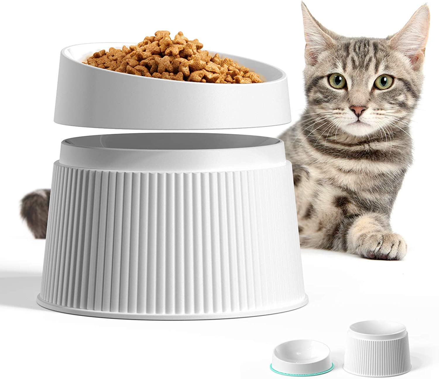 uahpet Raised Cat Food Bowl Non Slip Cat Dish 17°Title Angle Protect Cat's Spine Whisker Stress Free Anti Vomiting Backflow Prevention Dishwasher Available Pet Bowl