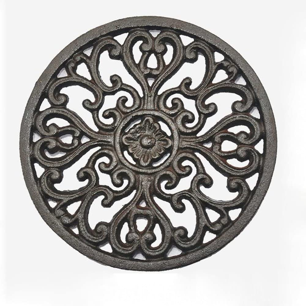 Decorative Trivet Deconoor Cast Iron Vintage Trivets for Kitchen Top or Dining Table to Place Hot Dishes Pot Holders with Antique Pattern with Anti Slip Feet 7 Round Green