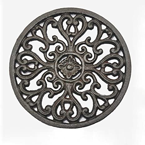 Cast Iron Trivet Bestplus Tablemat Potholders With Rubber Legs Vintage Carving Flower For Kitchen Or Dining Table Decor Round Tf001