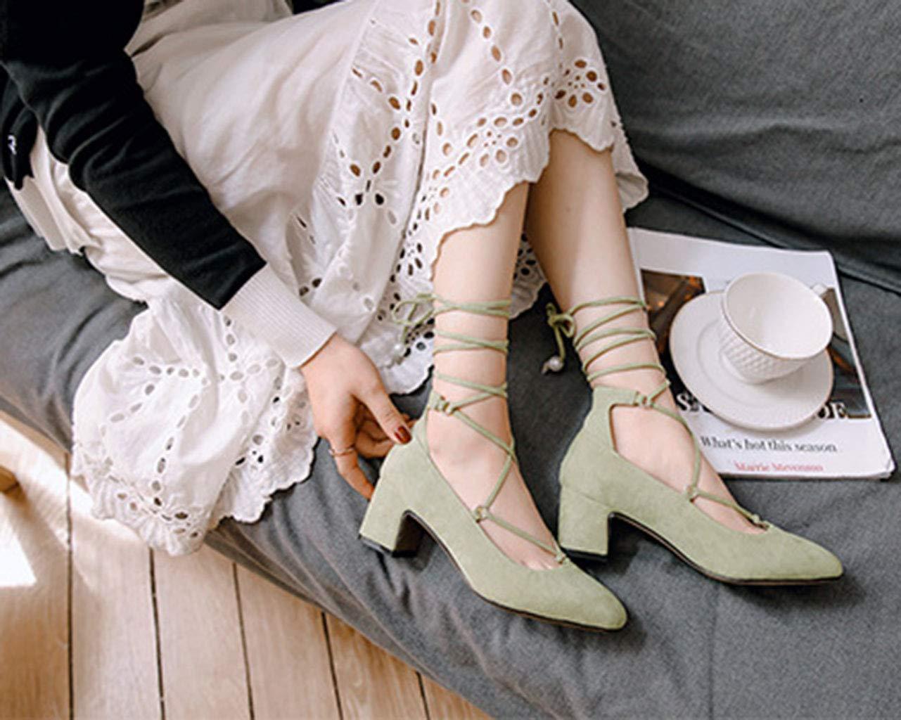 Frauen Schuhe Wildleder quadratischen Kopf flachen Mund High Heels Damenschuhe Damenschuhe Damenschuhe dick mit großen Schuhen Schuhe Spitze Frühling neu Grün 43EU 30f5fa
