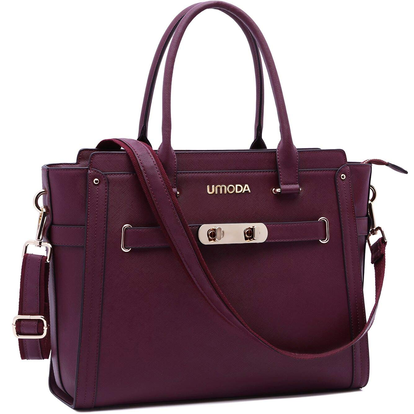 Laptop Bag for Women,15.6 Inch Multi Pocket Padded Laptop Tote Bag,Padlock Design Computer Bags for Women,Burgundy by UMODA