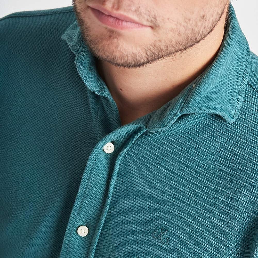 HOOK Camisa Polera Manga Larga para Hombre Color Liso Verde Oscuro ...