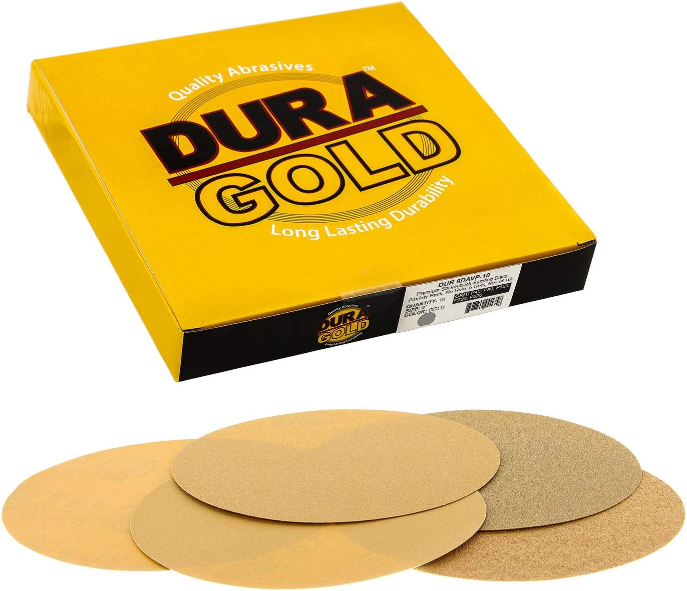 "120 Grit 8/"" Gold PSA Self Adhesive Sanding Discs for DA Sanders Box of 10"