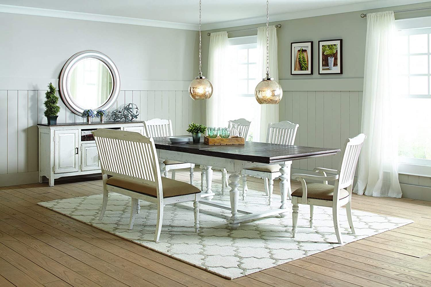 Coaster Simpson Extendable Dining Table in Latte and Vintage White