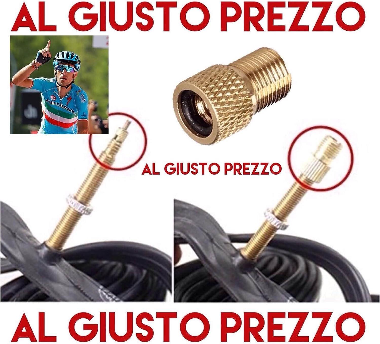 AlGiustoPrezzo®™ - Adaptador universal para válvulas de tipo presta, específico para bicicletas de carretera y montaña, inflado con compresor o bomba a pedal, fabricado en Italia