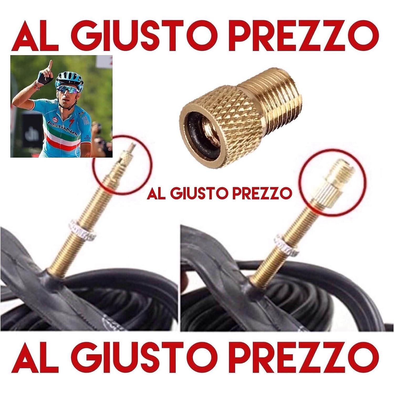 1 Adattatore Universale per Valvole - Da PRESTA a SCHRADER specifico per Bici da Corsa e Mountain Bike - Gonfia con il compressore o la Pompa a pedale - Made in Italy - AlGiustoPrezzo ® ™ AlGiustoPrezzo ® TM