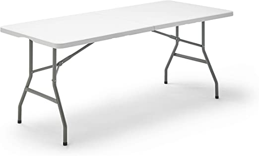 Mesa Plegable, color Blanco, 180x74x74 cm