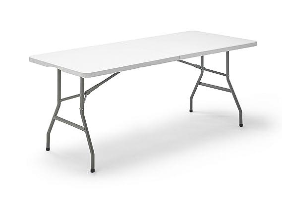 KitGarden - Mesa Plegable Multifuncional, 180x74x74cm, Blanco, Folding 180