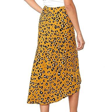 QIjinlook 💖Midi Leopardo Amarillo Medio Cuerpo Falda Bodycon ...