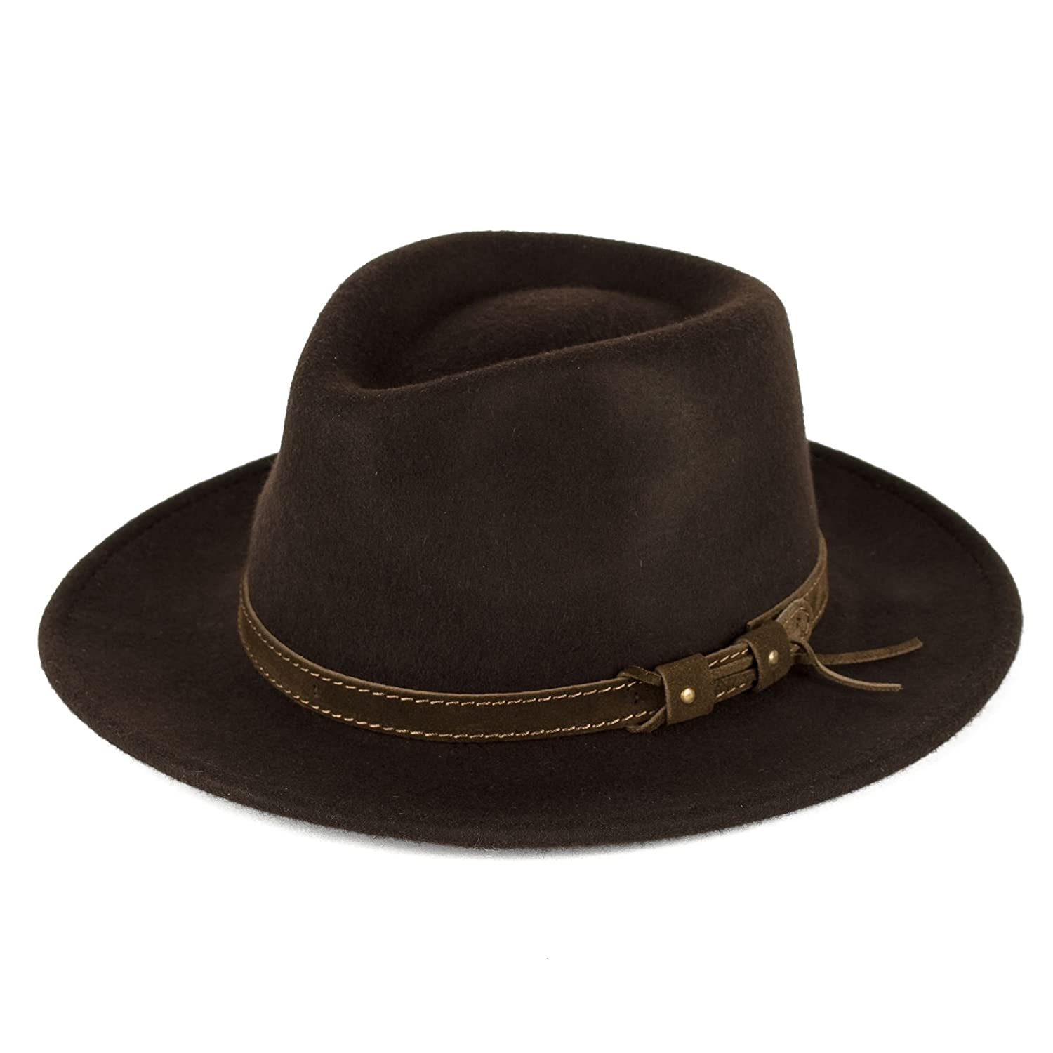 Men's Ladies Fedora Hat 100% Wool Felt Made In Italy Waterproof & Crushable d2d Hats d2d 8140