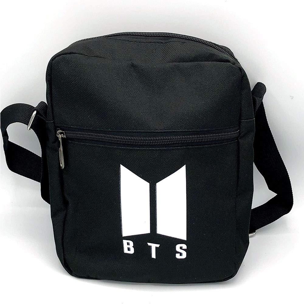 BTS BT21 Bangtan Boys SM Black Messenger Bag w//Shoulder Strap 11 x 9
