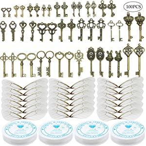 46 PCS Antique Bronze Vintage Skeleton Keys Charms Potter Flying Keys Enchanted Key With 50 Pairs Dragonfly Wings and 105 Yards Fishing Line For Jewelry Making Necklace Crafts