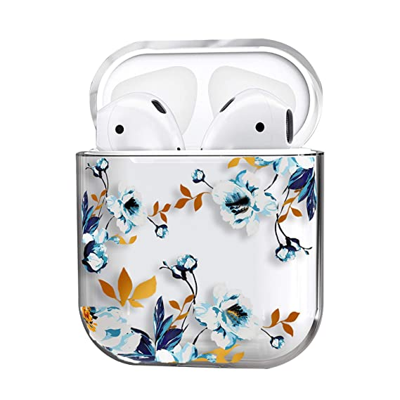 Air Pods Case,Cute Clear Smooth Tpu [No Dust] Shockproof Cover Case For Apple Airpods 2 &1,Kawaii Fun Cases For Girls Kids Teens Air Pods (Gardenia) by Mangix