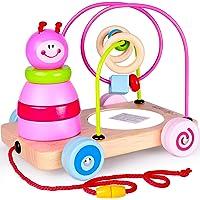 Rolimate Nachziehtier 4 in1 Holzspielzeug, Motorikschleife Stapelturm Spiegel Nachziehspielzeug Lernspielzeug für Baby ab 1 Jahr, bunt