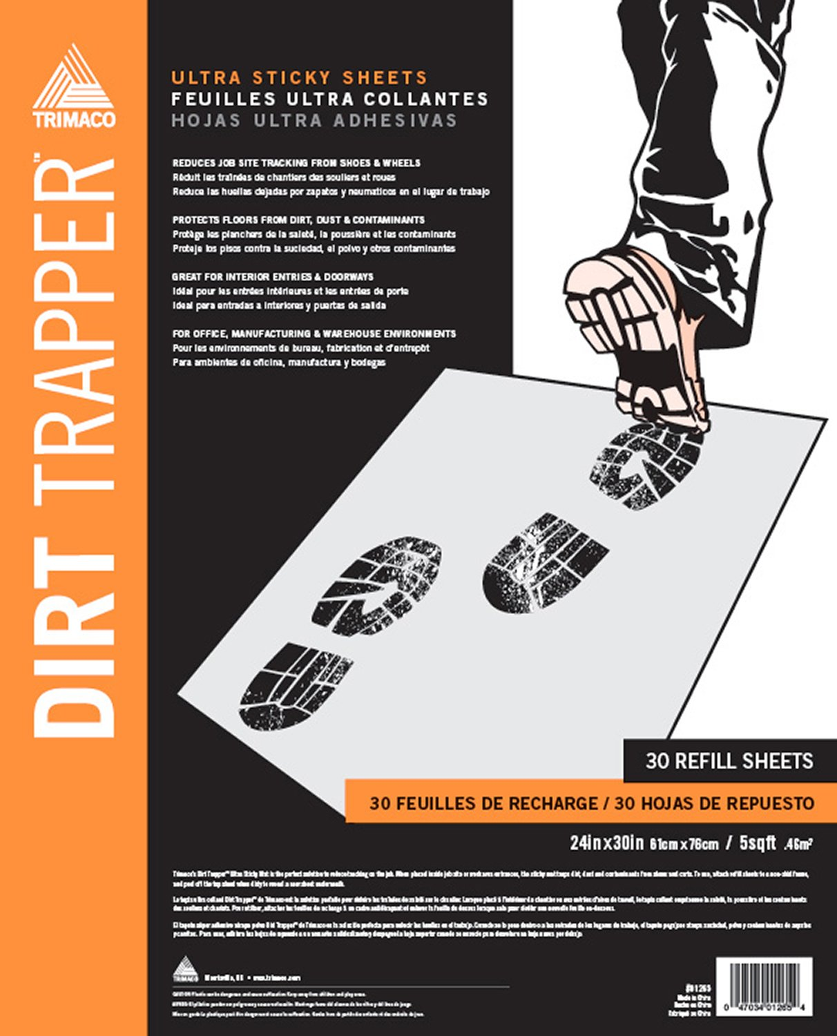 Dirt Trapper Ultra Sticky Mat - 30 layer refill by Trimaco