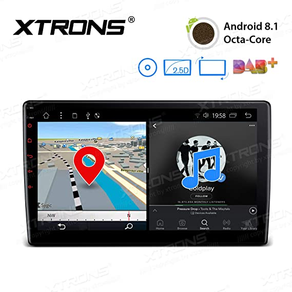 XTRONS Android 8 1 Oreo Octa Core 10 1 Inch 2GB DDR3 RAM 16GB ROM Rotatable  Face Panel Car Stereo DVD Radio GPS 4K Video WiFi OBD2 Screen Mirroring