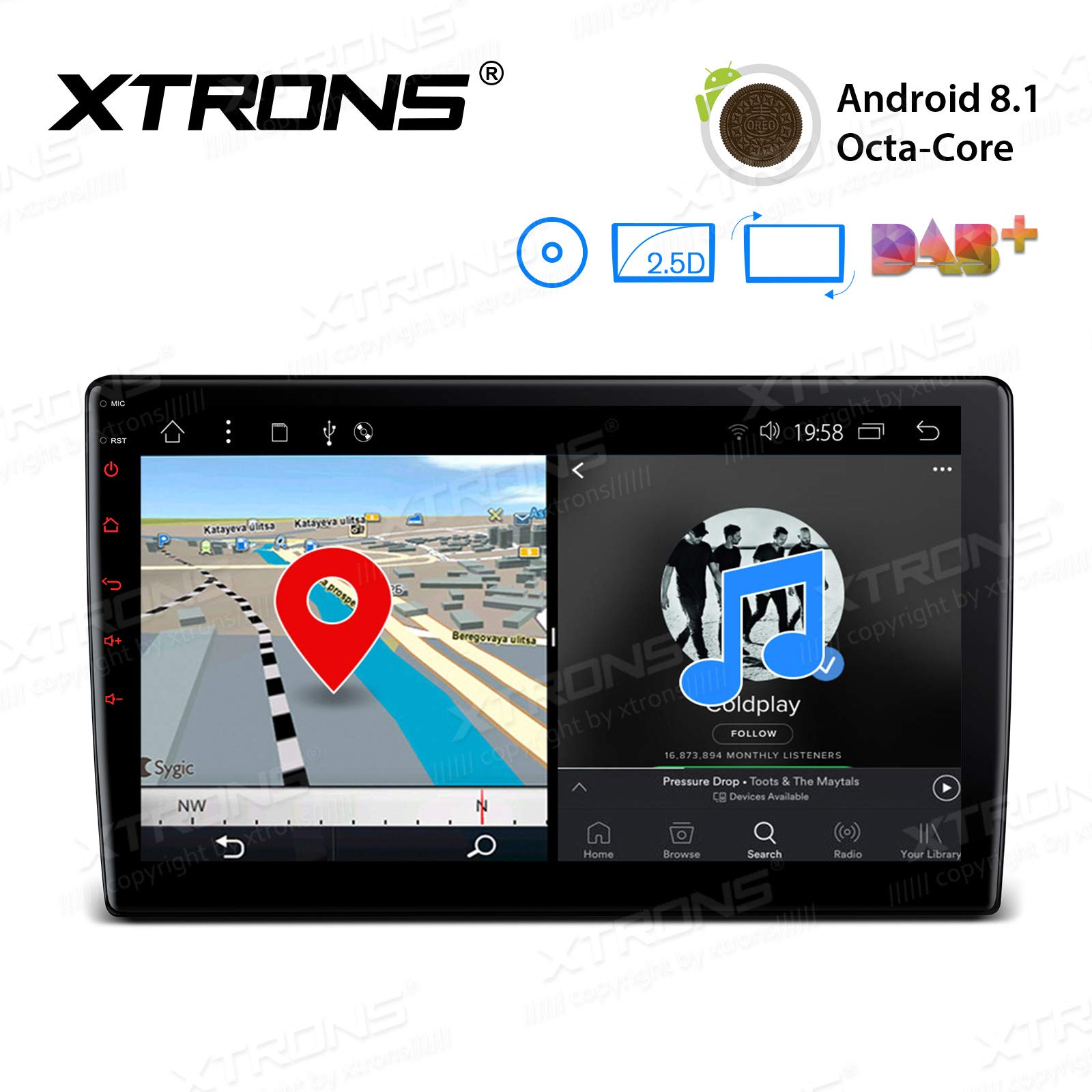 XTRONS Android 8.1 Oreo Octa Core 10.1 Inch 2GB DDR3 RAM 16GB ROM Rotatable Face Panel Car Stereo DVD Radio GPS 4K Video WiFi OBD2 Screen Mirroring DVR 2 DIN