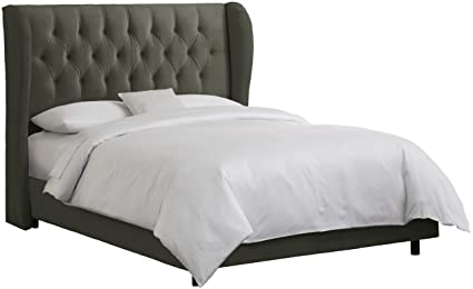 Exceptionnel Skyline Furniture Waveland Wingback Queen Bed Upholstered In Velvet Pewter
