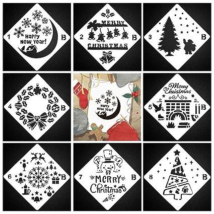 Christmas Stencil for Painting, 8Pcs Plastic Snowflake Drawing
