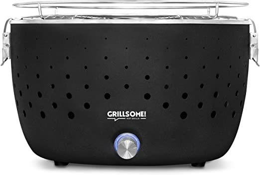 Grillsome! Barbacoa de carbón sin Humo Hugo con Sistema de ventilación Activa, portátil, Barbacoa para Mesa o balcón de Acero Inoxidable, Incluye Bolsa de Transporte: Amazon.es: Jardín