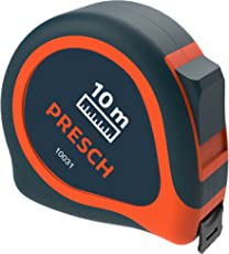 Presch Tape Measure 10 Metre - Robust Large Measuring Tape Metric, Riveted, with Metal Belt Holder and Retractable Measure Tape 10m
